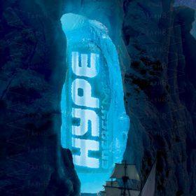 پوستر بسیار زیبای تبلیغاتی با فضای کوه های یخی به صورت لایه باز