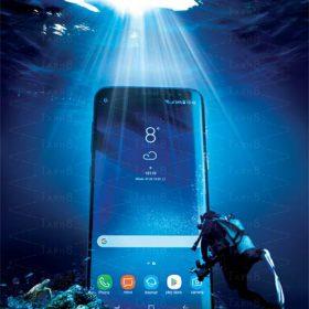 تبلیغ برند موبایل در قالب پوستر با کیفیت بالا و لایه باز